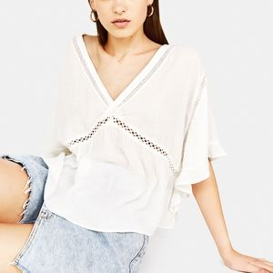 Bershka Oversized Blouse with Lace Trims